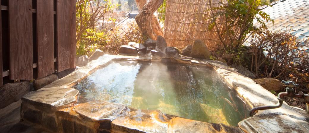 お部屋に付いている露天風呂で体を温める